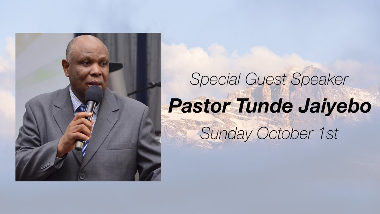 Pastor Tunde Jaiyebo comes to share the Word with us Sunday, October 1st.